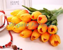 Argentina Látex Tulipanes Artificial PU ramo de flores Real touch flores para la decoración del hogar Boda Flores Decorativas 11 Opción de colores Suministro