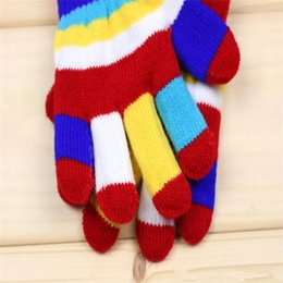 Wholesale Baby Finger Gloves - Baby Boys Girls Gloves Colorful Winter Warm Knitted Gloves Autumn Stripe Multicolor Fashion Candy Finger Gloves B11