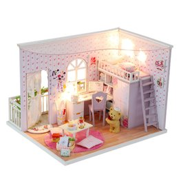 Wholesale Dollhouse Miniature Led Lights - Wholesale- Diy Handmade Doll House Wooden Miniatura Doll Houses Miniature Model Kit Dollhouse With Furniture Led Lights Kid Birthday Gifts