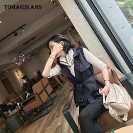 2019 gilet de taille 2018 Casual solide épaule double boutonnage taille ceinture femmes veste manteau streetwear femme boutons baissez le col Colete Top gilet de taille pas cher