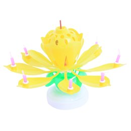 Wholesale Birthday Lotus Blossom - 2016 Beautiful Blossom Candles Romantic Musical Lotus Flower Happy Birthday Party Wedding Sparkle cake Topper Rotating Candle