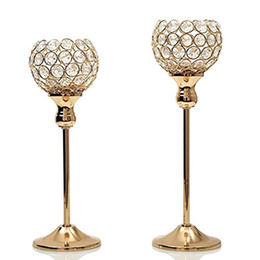 Wholesale hotel matches - Gold Silver Crystal Candle Holders Coffee Table Hotel Mosaic Candlesticks Set Decoration For Thanksgiving Birthday Wedding Party WX9-318