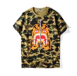 Wholesale Women Lion Printed Shirt - European and American tide brand ape head cartoon color lion mouth printing T-shirt and tiger head shark short sleeved sweater