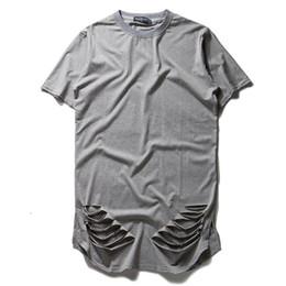 Удлиненные негабаритные футболки онлайн-Новая мода расширить негабаритных футболка Kanye West хип-хоп рэп Майка мужчины разорвал уничтожить отверстие хлопок футболка Homme Хабар топы