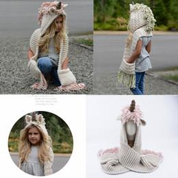 Tejer sombreros infantiles online-AMUSE 2 en 1 unicorn bufanda cap Kids Infant Llama Cálido Sombreros de punto Niños de dibujos animados más cálido Invierno crochet Hat 5 unids 2 colores AAA1013
