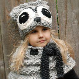 2019 gorras de búho Baby girls boys owl knitting gorros bufanda set dibujos animados 2018 winter wool gorros INS niños knitted neckerchief hat C5165 rebajas gorras de búho