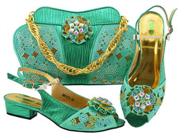 Discount shoes purple heels rhinestone - Ladies Italian Leather Shoe and Bag Set Water green Color Italian Shoe with Matching Bag Set 2018 Nigerian Shoes and Bag Set for PartyMM1073