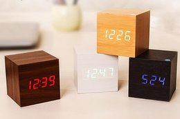 Wholesale Modern Desk Clocks - New Modern Wooden Wood Digital LED Desk Alarm Clock Thermometer Timer Calendar Red LED Digital Alarm Creative home decor gift SN1069