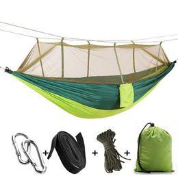 Hamaca ligera online-Mosquiteras portátiles al aire libre Hamaca Hamacas de nylon paracaídas ligeras que acampan para ir de excursión al aire libre Viajar con mochila