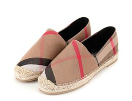 Wholesale Espadrilles Flats - womens espadrilles casual fisherman shoe checks grids stripped canvas slip on snickers skate ballet flats loafers DH2H1