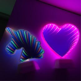 Luzes infinitas on-line-Novidade Luz Cactus Forma 3D LED Lâmpada Do Túnel Infinito Espelho Night Lamp Interior Decoração Atmosfera Iluminação Luminaria Unicorn Levou