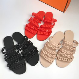 Wholesale ladies jelly sandals - Women Summer Chain Flat Jelly Shoes Lady Fashion Beach Slippers Sandals