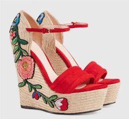 Wholesale Wood Wedge Sandals - 2018 Weave Wedges Sandals Ladies T Show Party Pumps Women Print leather High platform Summer Gladiators Open toe Fashion Brand Genuine leath