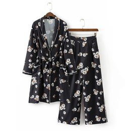 2017 del verano rebeca de las mujeres ocasionales con cordones pantalones de las mujeres de dos piezas conjunto de impresión negro ropa para mujer kimono 2 unidades desde fabricantes