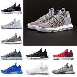 Wholesale Basketball Shoes Durant - With Original Box Zoom KD 10 Multi-Color Oreo Numbers BHM Igloo Men Basketball Shoes KD 10 X Elite Mid Kevin Durant Sport Sneakers