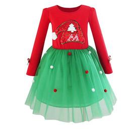 tampões da bola do natal Desconto Meninas do bebê de manga longa santa cap vestido de lantejoulas bordado bola de tule saia de algodão crianças presente da roupa do natal