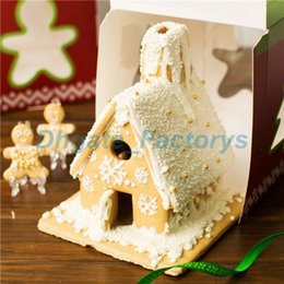 Wholesale Laser 17 - 50pcs 17*17*20cm Christmas Tree House Decoration Cake Candy Chocolate Box Gingerbread House Cookie Wedding Favors Boxes JF-789
