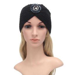 Wholesale Cashmere Jewelry - 2016 Fashion women winter warm hats metal jewelry India cap Turban hats women's head wrap cashmere warm Beanies