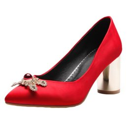Wholesale Beading Materials - SJJH 2018 Silk Material Pumps with Pointed Toe and Chunky Heel Elegant Working Dressy Shoes for Fashion Women with Large Size Available A270