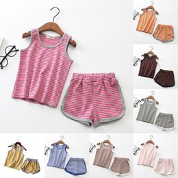 Wholesale red stripe clothing - Fashion Kid Suit Sleeveless Top Tees and Shorts Pants Boy and Girls Suit Baby Stripe Set Short Clothing Vest Stripe Suits