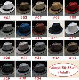 Wholesale fedora wholesale hats - 34 Colors choose Men Women Soft Fedora Panama Hats Cotton Linen Straw Caps Outdoor Stingy Brim Hats Spring Summer Beach sun caps 56-58cm