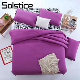 Morado pisos para chicas online-Solstice Home Textile Zebra Stripe Solid Purple Juego de sábanas Mujer Teenage Adult Girl Funda nórdica de lino Funda de almohada Cama Hoja plana