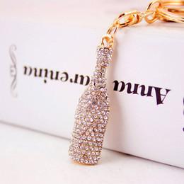 borse del progettista del rhinestone Sconti Portachiavi di bottiglia di birra portachiavi - Strass di cristallo scintillante portachiavi di lusso designer portachiavi gioielli borsa decor
