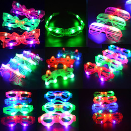 Wholesale Lighted Glasses Party - Multi Style Blinking Light Up Blind Eye Glasses LED Flashing Glasses Party Supply Flash Toy Festive Supplies