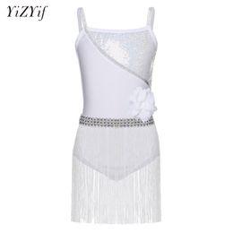 4a0536743875 YiZYiF Kids Girls Sexy White Sequined Latin Ballroom Rumba Salsa Tango Dance  Flower Leotard Dress with Tassels SZ 4-12