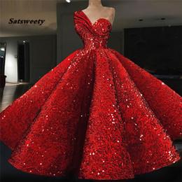 Sparkle robes de soirée musulmanes 2019 robe de bal One-shulder rouge paillettes islamique Dubaï caftan saoudien arabe longue robe de soirée ? partir de fabricateur