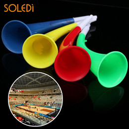 Wholesale trumpet speaker - Sport Trumpet Plastic Celebrations Delicate Loud Vuvuzela National 2018 Multicolor Ox Horn Speaker Drop Shipping