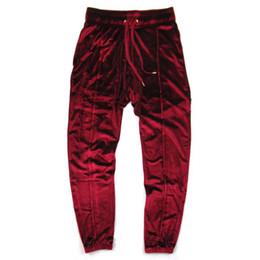 2019 pantaloni di velluto uomini Aleirmires Uomini Hip Hop Velvet Jogger Pants 2018 Autunno Nuovo colore solido coulisse vita elastica Velour High Street Mens Jogging sconti pantaloni di velluto uomini