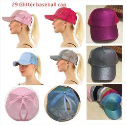 29 color Glitter Ponytail breathable mesh baseball cap men s ladies bag  summer truck Gorras shiny gold shining ladies hat adafd038cd89