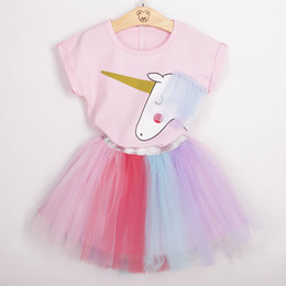 Wholesale New Summer Outfits - Baby unicorn outfits INS children print top+rainbow TUTU lace skirts 2pcs set cartoon girls suits 2018 new Boutique kids Clothing sets C3920
