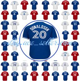 Wholesale Jose Bautista - Men's Toronto Jersey 20 2 Troy Tulowitzki 6 Marcus Stroman 19 Jose Bautista 29 Joe Carter 12 Roberto Alomar Blue White Red jerseys