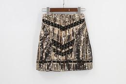 Wholesale Embroidery Baroque - Bling Night Club DJ Singer Mini Mesh Sequin Skirt Saia Retro 1920s 30s Embroidery Beaded Baroque Gold Women Party Skirt