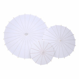 Wholesale White Bamboo Parasols - Bridal Wedding Parasols White Paper Umbrella Chinese Mini Craft Umbrella 5 Diameter 20 30 40 60 80cm Wedding Favor Decoration
