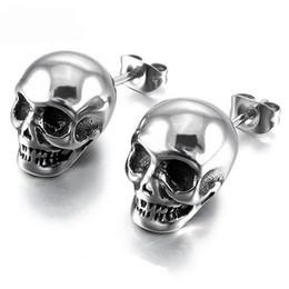Espárragos del cráneo online-Vintage Stud Retro Cráneo Brillante de Acero Inoxidable Stud Pendientes Hombres y Mujeres Punk Rock Ear Joyería de Moda Pendientes Creativos