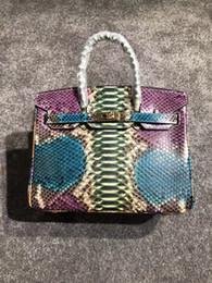 Canada 2018 luxe BK 100% Python peau sacs à main 7A meilleure qualité célèbre designer femmes véritable en cuir sac à bandoulière impression sac fourre-tout 30 cm Offre