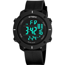Wholesale multi action - 2018 SYNOKE LED Digital Sport Watch Kids Outdoor Waterproof Electronic Watches Multi-Function 50M Double Action 9658 Watch