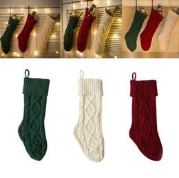 Wholesale Acrylic Christmas Tree Ornaments - Christmas Knitted Stocking Hanging Crochet Stock Tree Ornament Décor Knitted Xmas Socks Gift Bags Candy Bag Christmas Tree Pendant KKA3617