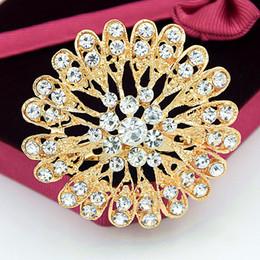 Broche de buena calidad online-100% de buena calidad moda tono dorado brillante claro cristales de austria girasol nupcial de la boda ramo bastante broche mujeres vestido de la joyería pines