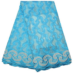 Wholesale Lace Fabric Swiss - Embroidery Swiss Voile Lace In Switzerland Baby Blue African Lace Fabric 2017 High Quality Nigerian Swiss Voile Lace QF1041B-1