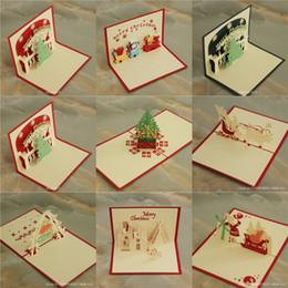 Árvores de natal baratas on-line-Cartões de Natal 3D Cartões de Natal Criativo DIY Oco Out Handmade Paper Christmas Tree Santa Claus Fábrica de Cartão Barato B47