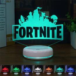 led 3d signs 2018 - Hot Fortnite Lamp 3D Lamp FORTNITE Sign LED Fortnite light 7 Colors Change Touch Table Desk Art Gifts 3d Night Light 9pcs T1I841