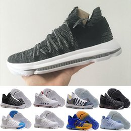 Wholesale Summer Breathable Shoes - 2018 New Zoom KD 10 Anniversary PE Oreo Red Men Basketball Shoes KD 10 X Elite Low Kevin Durant Grade School Sport Sneakers