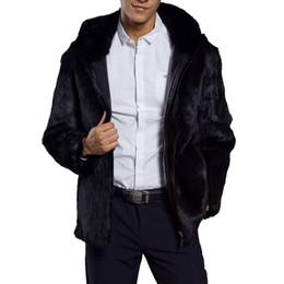 Más tamaño de piel sintética con capucha online-Hombres mullidos de piel sintética con capucha abrigo 2018 invierno gruesa caliente de lujo chaqueta de piel peluda más tamaño para hombre con capucha abrigos negro cremallera outwear