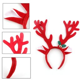 Wholesale Hoop Antlers - Christmas Decoration Deer Bell Large Antlers Christmas Head Hoop Buckle Xmas Party Suppliers Christmas Gifts for Kids