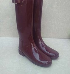 Wholesale Tall Rainboots - Free shipping by UPS top quality gloss women tall knee high style rubber rainboots Welly rain boot water shoes for adult many colors