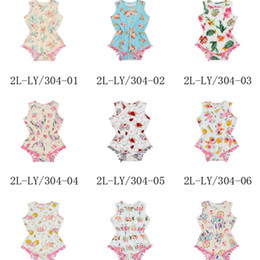 Wholesale baby clothes christmas designs - Baby Unicorn Print Rompers 13 Design Girls One-piece Summer Clothes Jumpsuit Playsuits Infant Toddler Beach Outfits LC889